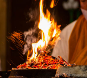 The monk tosses sesame seed into the burning ambers of the Goma-gi
